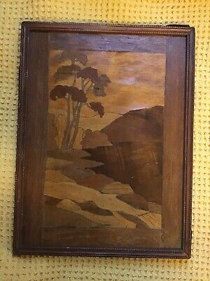Vintage Marquetry Wooden Hills And Trees Framed Picture