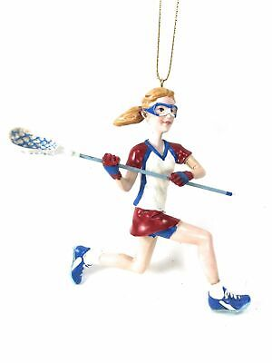 Girl Lacrosse Player Figurine In Red & White Christmas Tree Ornament Kurt Adler ()