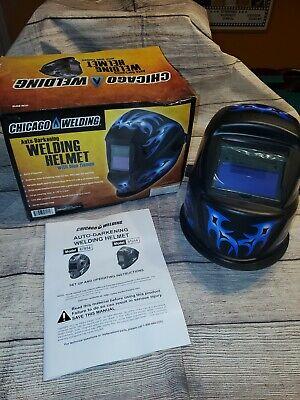 New Chicago Electric Welding Helmet Blue Flame Auto-darkening Solar Power