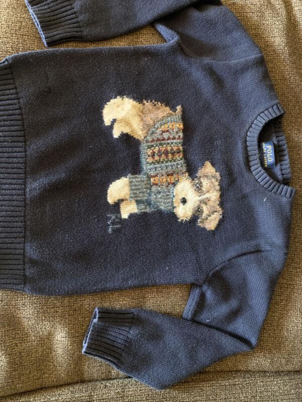 Ralph Lauren Dog Sweater Size 5 Polo Blue Equestrian Dog Unisex