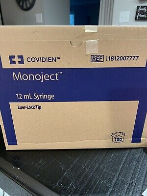 New Case Of 100 Covidien Monoject Syringe Luer-lock Tip 12ml 1181200777t
