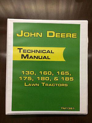John Deere 130 160 165 175 180 185 Lawn Tractors Service Technical Manual