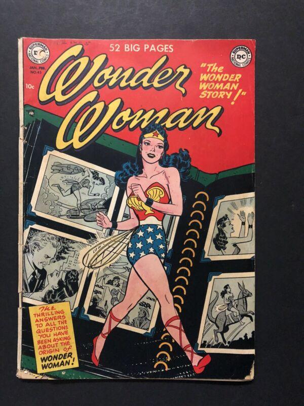 WONDER WOMAN #45 (1951) GD/VG ORIGIN RETOLD ORIGINAL OWNER COLLECTION!