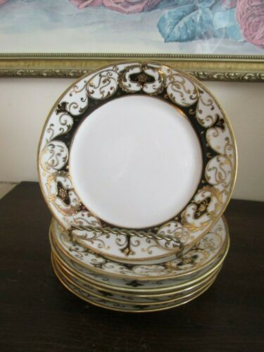 Nippon Handpainted Set Of 6 Dessert Plate Moriage Gold Black 20056 Pattern