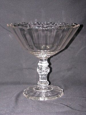 Antique EAPG Clear Glass Fluted Compote Pedestal Footed Bowl Scalloped Edge , used for sale  Maple