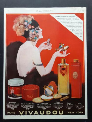 1924 Mavis Vivaudou Cosmetic Beauty Advertisment Page Art Deco Vanity Print