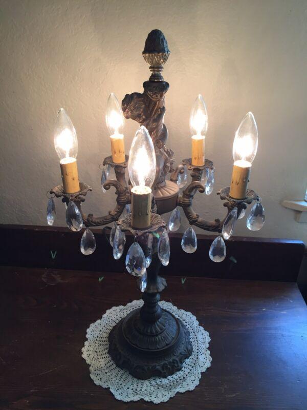 Vintage Victorian Cherubs Parlor Electric Candelabra Table Lamp Hanging Crystals