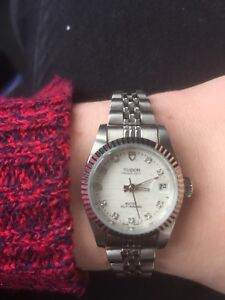 Tudor 74000 Oyster Prince Date Diamond Dial Stainless Watch