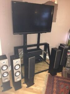 """52"""" Toshiba Regza TV, metal+glass stand, speakers, A/V console"""