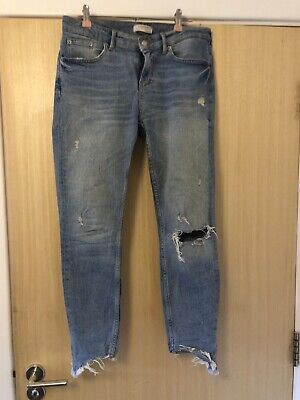Zara Skinny Blue Ripped Jeans Size 10