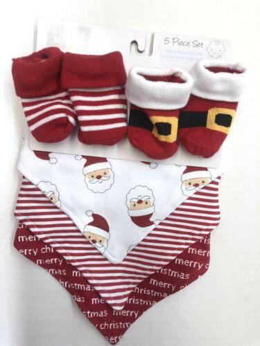 New! Little Treasure 5 Pcs Christmas Holiday Baby Boys Bibs