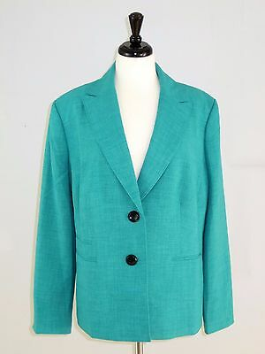 Le Suit 18W Jacket Career Blazer 2 Button Peak Collar The Hamptons Summer Teal