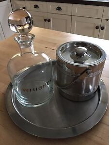 Whiskey Decanter, with Ice Bucket and Aluminum Tray
