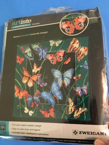 Artiste Beautiful Butterfly Design Needlepoint Kit Full Size Yarn New Rare