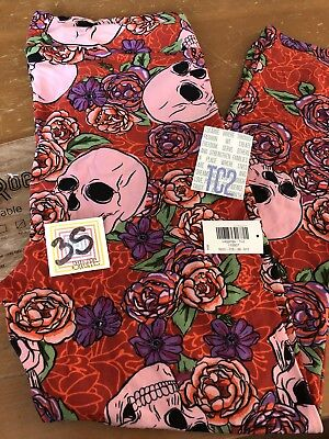 Halloween Leggings Skull Floral Rose Pink Red Unicorn Rare (Pink 2017 Halloween)