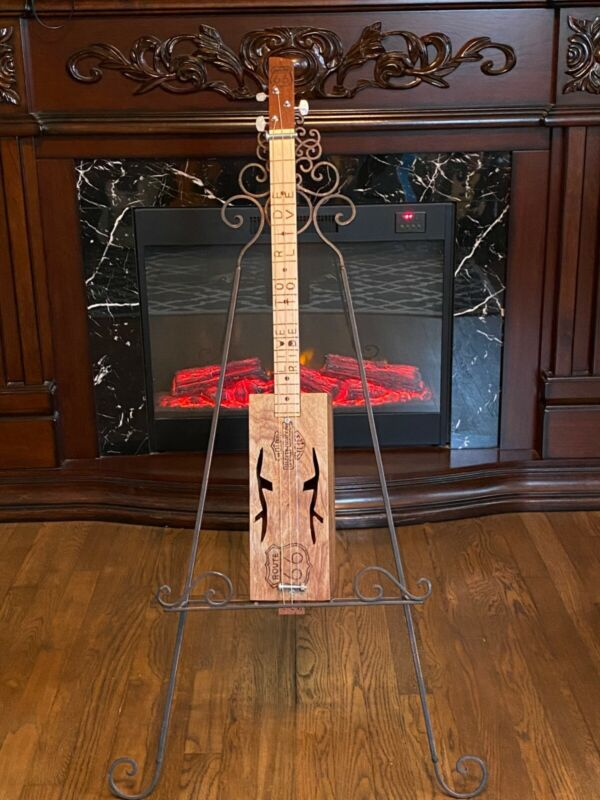 Handcrafted 3 string slide wine box guitar, Route 66, Harley Davidson motif