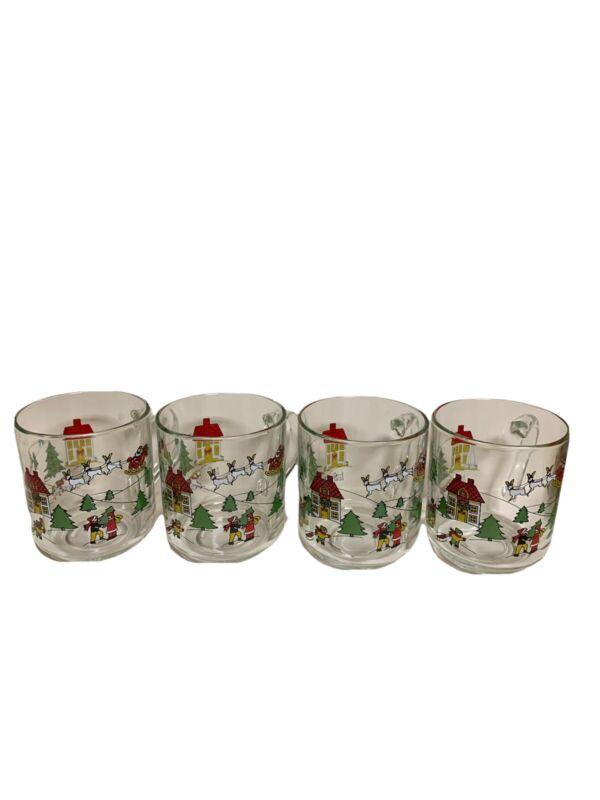 Vintage Luminarc Christmas Village Theme Glass Mugs Set of 4 Santa Reindeer 8oz