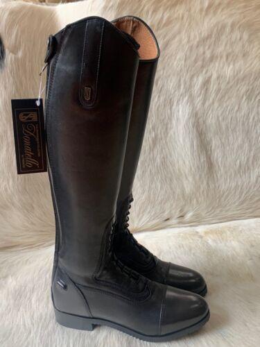 "Blk Tredstep Donatello Junior Field Boots Sz K 8-9 US Calf 13 -13.5"" Height 17"""