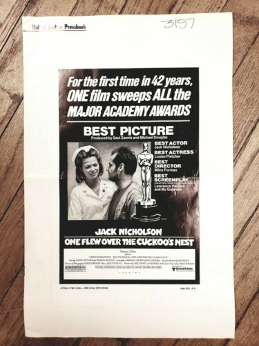 ONE FLEW OVER THE CUCKOO'S NEST Pressbook Nicholson Ken Kesey 1975 UA Oscars