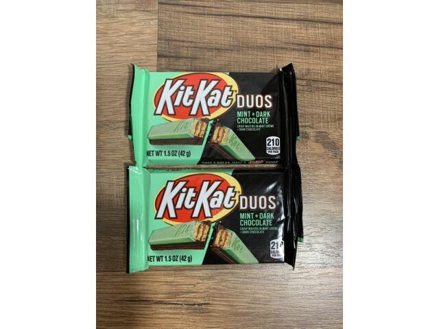 2 Packs Kit Kat Duos Crisp Wafers Mint + Dark Chocolate Candy Bar 1.5 oz ea