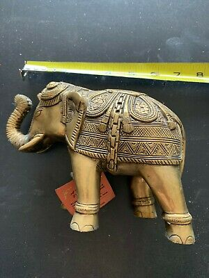 vintage brass elephant  5'' tall and 7 '' long with/ tag made in india