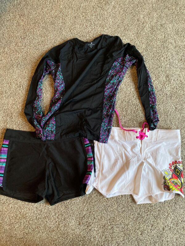 Lot Of Three Athleta Board Shorts Rash Guard Shirt Swimwear Size 6