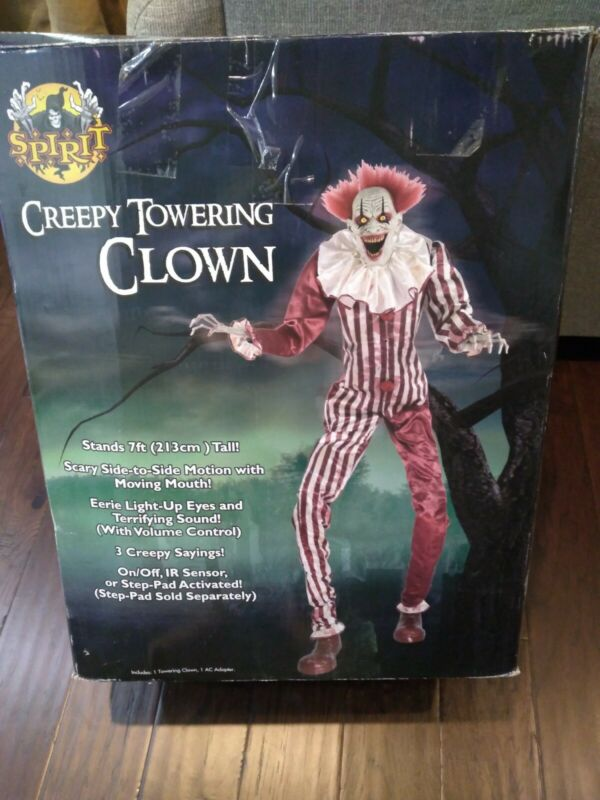 Spirit Halloween Creepy Towering Clown , 7 Foot Tall Scary Animated Clown