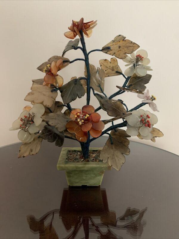 Old Chinese Carved Agate Jade Like Quartz Stone Large Flowers Leaves Tree Bonsai
