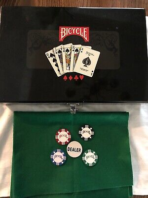Bicycle Masters 300 8 Gram Clay Composite Poker Chip Set in a Black Lacquer Box 300 Clay Composite Chips