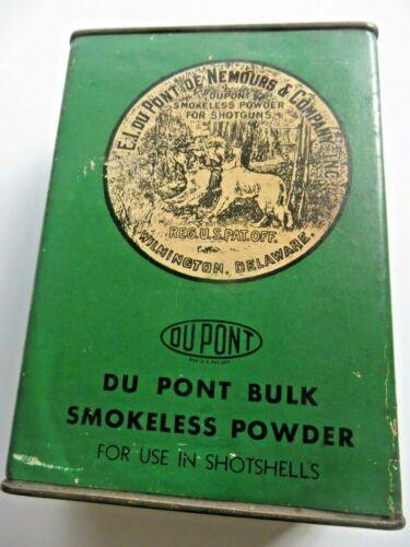 E.I.DU PONT DE NE MOURS & CO.SMOKELESS POWDER TIN CONTAINER ,SHOTSHELL DOG LABEL