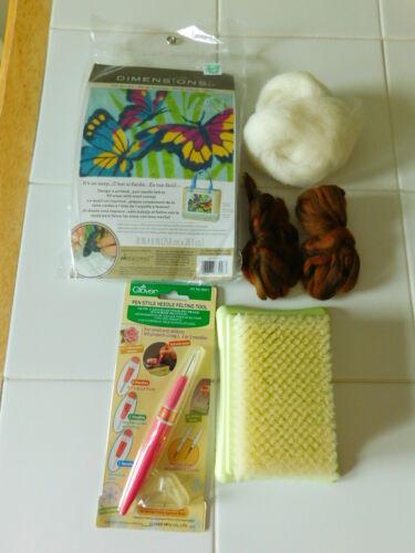 Needle Felting Tool Mat Kit Wool Roving Supplies Lot