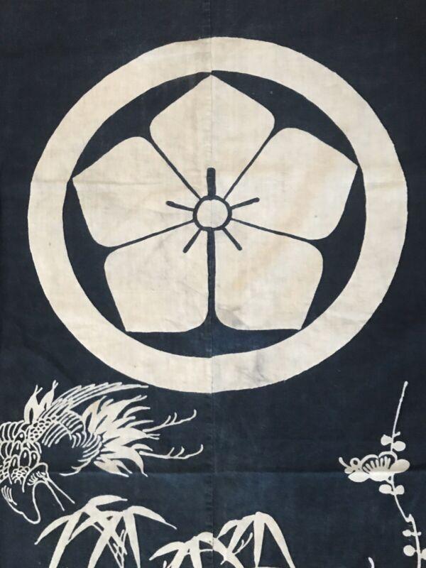 Museum Quality Japanese Antique Indigo Tsutsugaki Crest 19th Century Art Cloth
