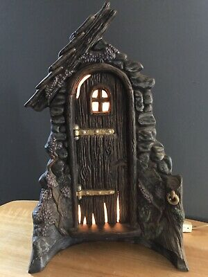 Vintage Lighted Ceramic Halloween Haunted Mansion Door Spooky Lighted Front Door