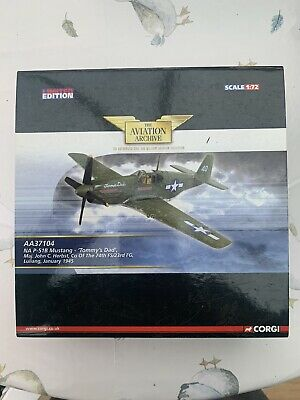 Corgi Aviation Archive Aa37104 P51B Mustang 'tommy's Dad' Diecast Model Aircraft