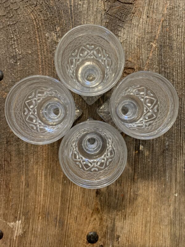 Imperial Glass Cape Cod Clear Beverage Goblet With Faceted Stem Set Of 4