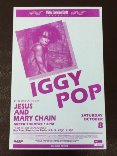 Iggy Pop Jesus and Mary Chain Greek Theatre VINTAGE Concert Poster