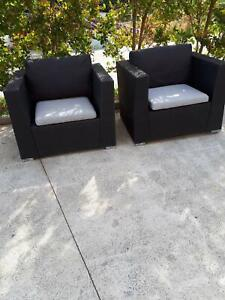 2 black Wicker Outdoor Chairs $65. each