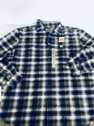 NEW Carhartt Mens Hubbard Plaid Flannel Shirt BLACK Brown Wh