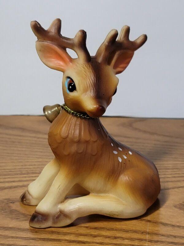 Vintage Plastic Made In Japan Reindeer Deer Blue Eyes With Bell Red Nose Rudolph
