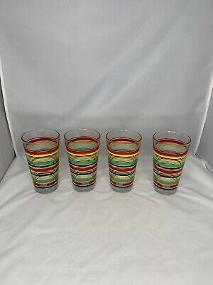 FIESTA Striped  Tumbler Highball Glasses 16 oz set 4 Libbey NEW Libbey Tumbler Set
