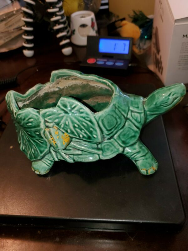 Vintage McCoy Pottery Green Turtle Planter