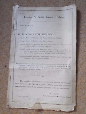 Vintage/Antique London & North Eastern Railway Circular No. R.R. 6. (T156)