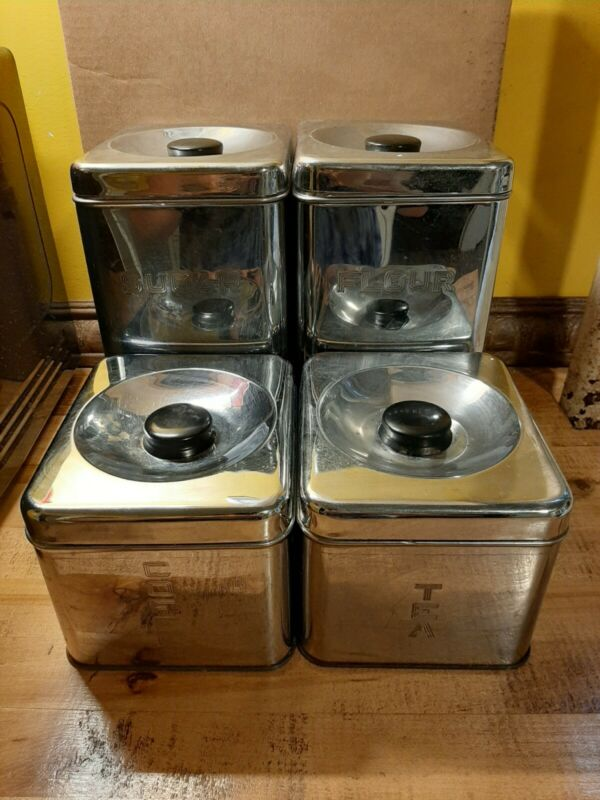 Vintage Mid Century 4-Piece Chrome Kitchen Canister Set Lincoln Beauty Ware