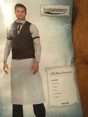 Small-Medium Old West Bartender Costume Fun Costumes 30 32-34 Vest Bar Tender