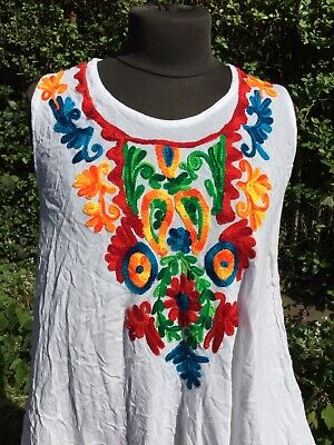 Boho Folk Whimsical Vintage Embroidered Indian Hippy Floaty Day Dress Hungarian