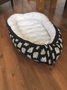 Baby nest - cats and off white pattern
