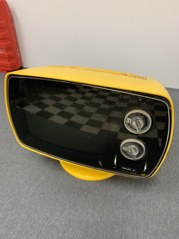 Philco Ford Solid State Tv vintage yellow 13 channel working tested free ship