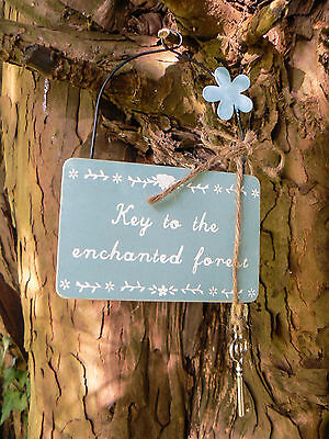 Key To The Enchanted Forest Secret Garden Sign Wooden Plaque Shabby Chic Vintage