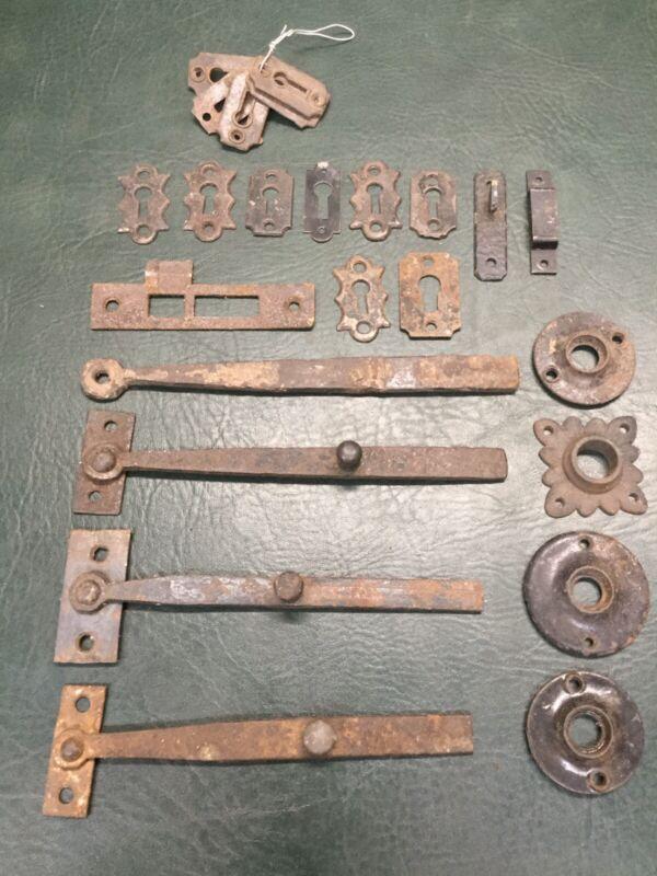Lot of Antique Cast Iron Door Hardware ~Door Knob Rosettes, Escutcheons, Latches