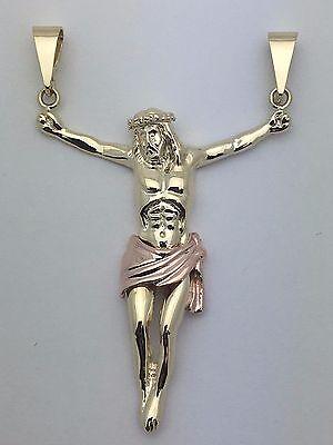 Gold Jesus Christ Charm (14k Two Tone Gold Jesus Christ Crucifix Pendant Religious Charm 2.5